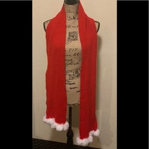 Women's Red and white Christmas scarf extra long